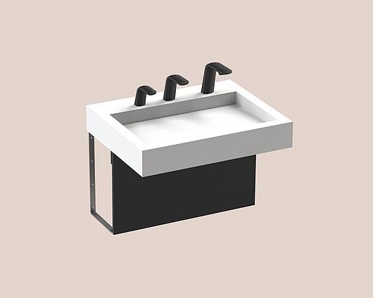 The Splash Lab | Monolith A Series | 1 User 3 Fittings - Black - Square