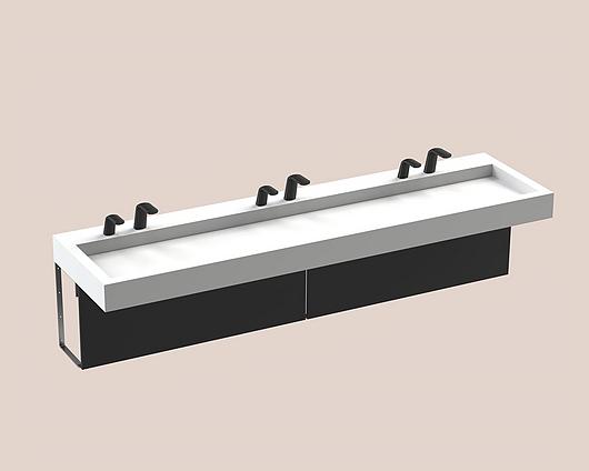 The Splash Lab | Monolith A Series | 3 User 2 Fittings - Black - Square