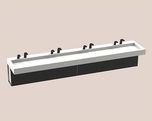 The Splash Lab | Monolith A Series | 4 User 2 Fittings - Black - Sqaure