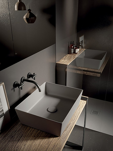 Lavabo rectangular para instalar sobre encimera o mueble de baño