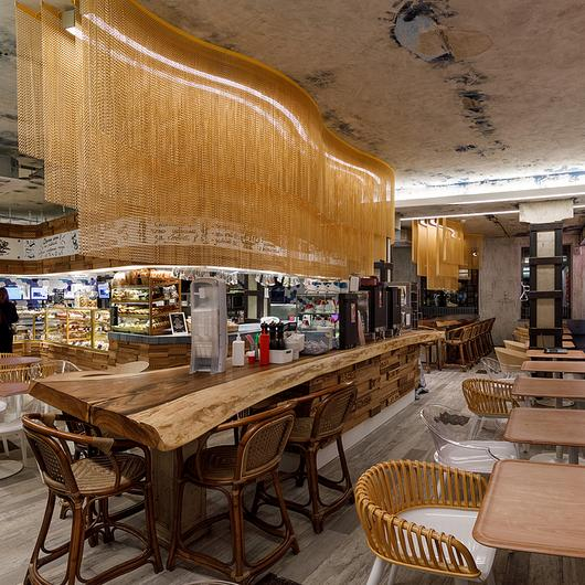 Metal Fabric - Light Fixture in Karavaevi Cafe / Kriskadecor