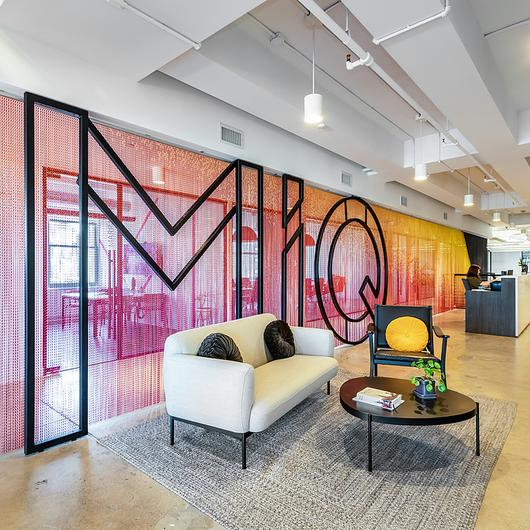Metal Fabric Space Divider in MiQ offices, New York / Kriskadecor