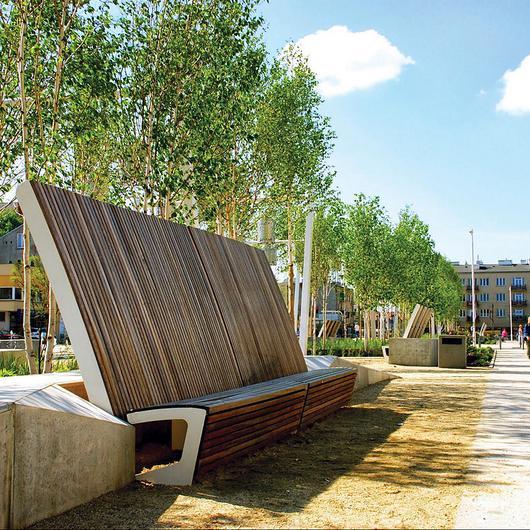 Curved Park Bench - Landscape / mmcité