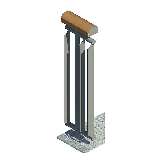Detalle de barras verticales y pasamanos de madera