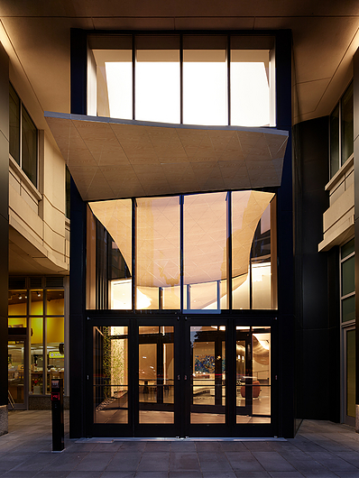 Ballston point mall - custom woodgrain - interior to exterior canopy transition