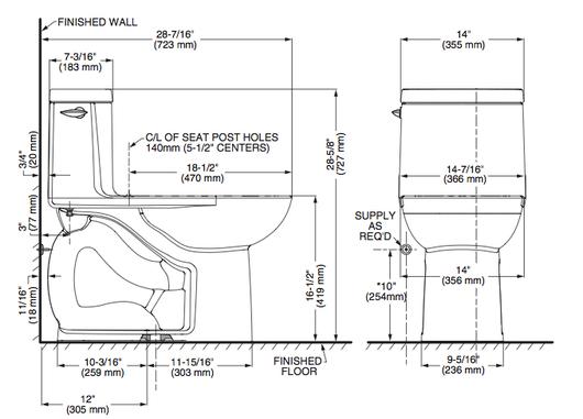Inodoro one piece loft de american standard for Dimensiones de un inodoro