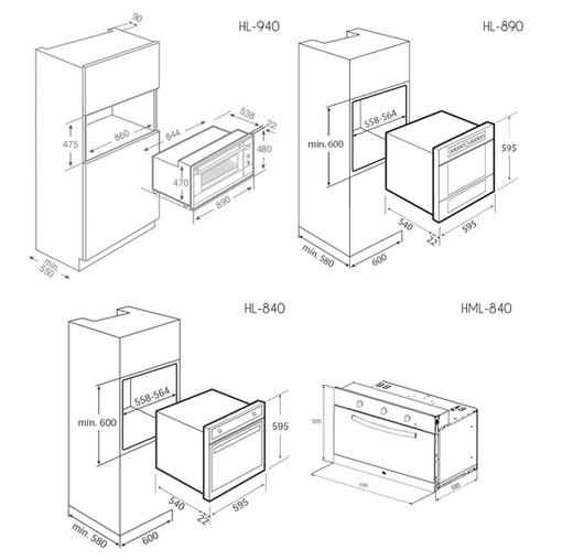 Hornos empotrables de teka for Muebles de cocina 45 cm