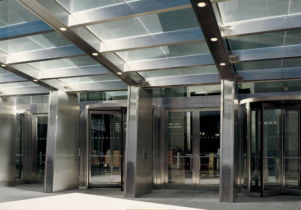 Four Times Square - New York New York & Gallery of Metallic Doors - Formed Stainless Steel Balanced Door - 6