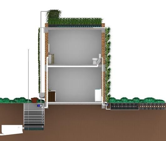 Corte explicativo do Sistema Integrado de Reciclagem de Água Urbana