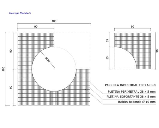 Dimensiones del Alcorque Modelo 3 - Gerdau