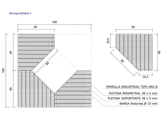 Dimensiones del Alcorque Modelo 2 - Gerdau