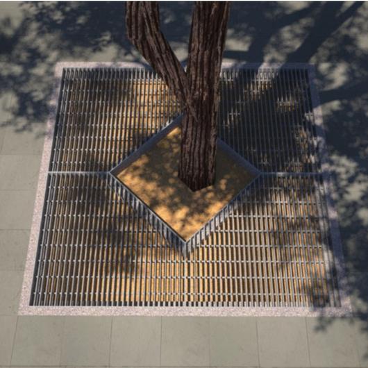 Complementos para arbolado urbano con parrillas de barras y perfiles laminados / Gerdau