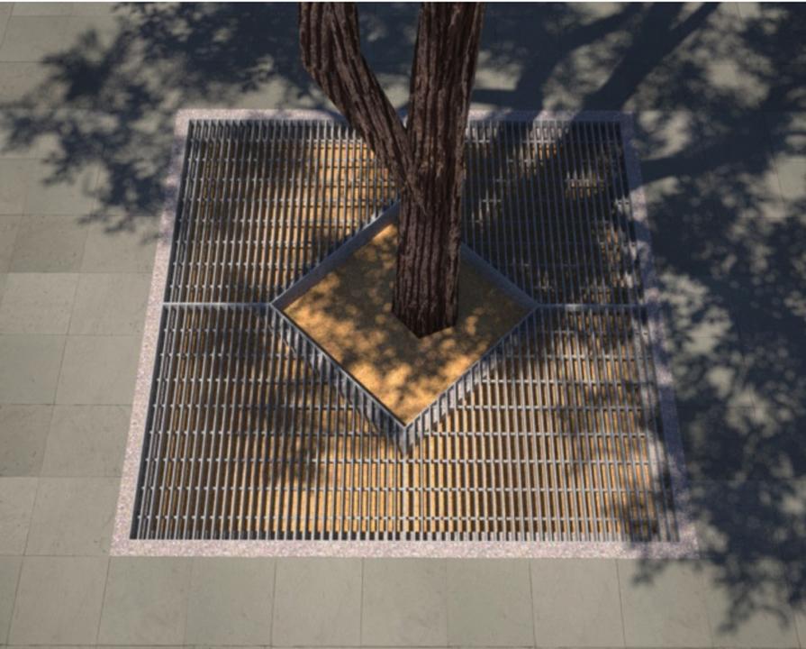 Complementos para arbolado urbano con parrillas de barras y perfiles laminados