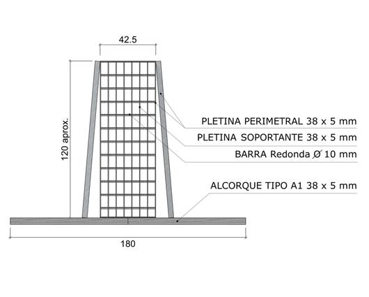 Dimensiones en alzado de Canastillo - Gerdau