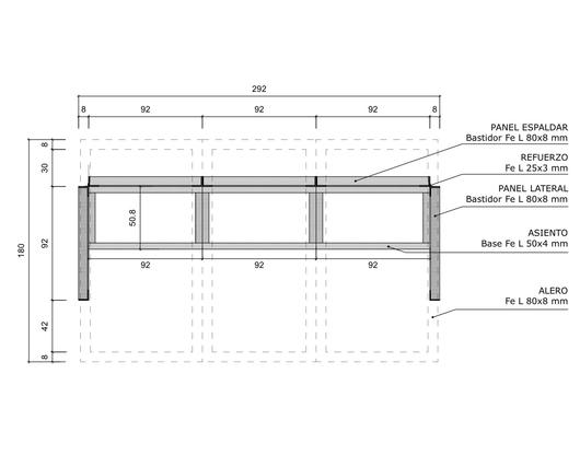 Dimensiones en planta del paradero hecho con parrillas metálicas - Gerdau