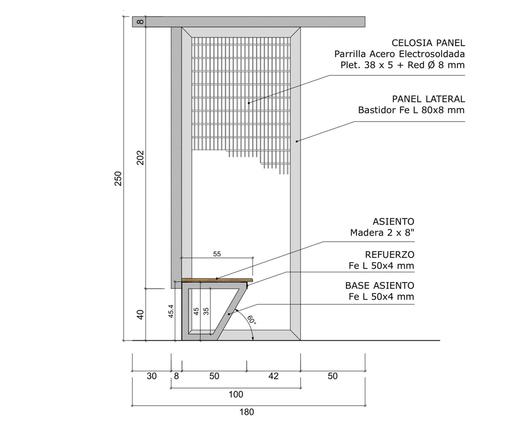 Dimensiones en corte del paradero hecho con parrillas metálicas - Gerdau