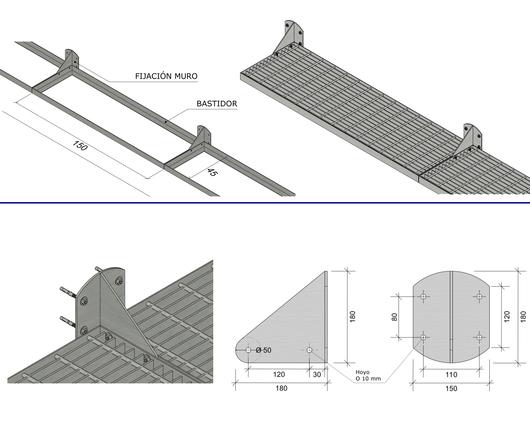 Medidas y fijaciones en el parasol Modelo Parasol 50 - Gerdau