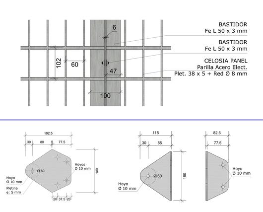 Medidas y fijaciones en la celosía para ventanas Modelo 250 - Gerdau