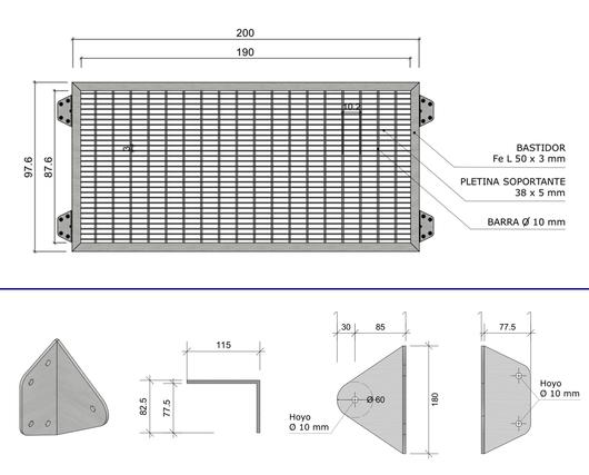 Medidas y fijaciones en la celosía para ventanas Modelo 200 - Gerdau