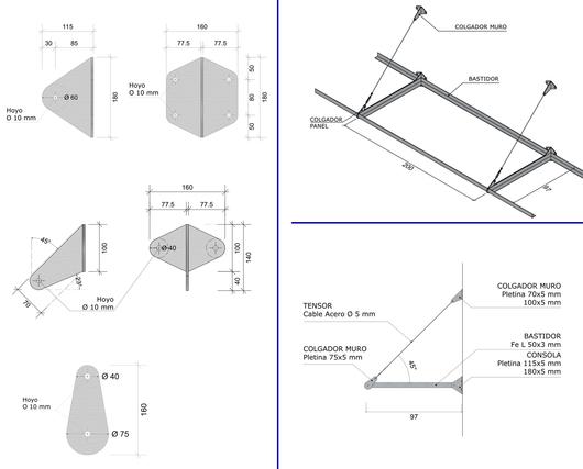 Medidas y fijaciones en el parasol Modelo Parasol 100 - Gerdau