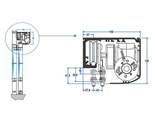 Detalle de perfil de Puertas Correderas - Glasstech