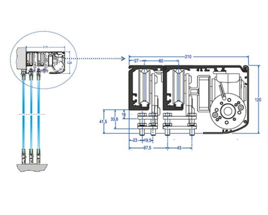 Detalle de perfil de Puertas Telescópicas - Glasstech