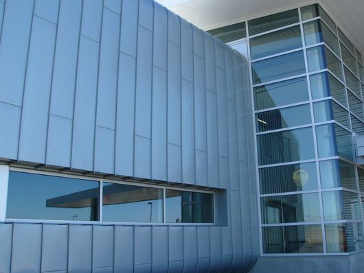 John Deere Corporate Aviation Facility   Moline, IL   preweathered zinc   Double Lock Standing Seam Panels   Architect: OPN Architects