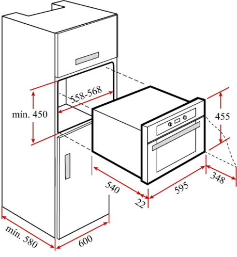 Hornos compactos de teka for Dimensiones horno empotrado