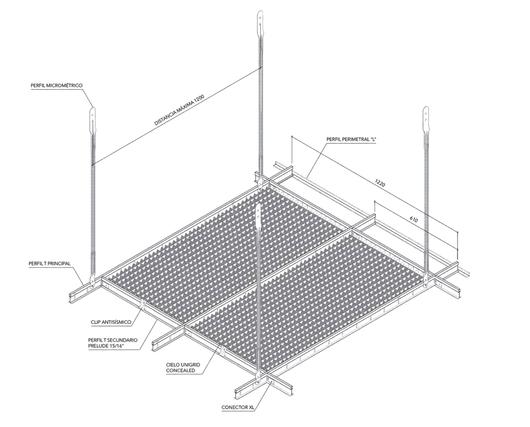 Detalle Instalación Cielo Metálico Unigrid - Hunter Douglas