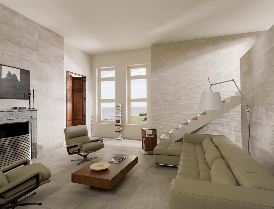 Grey And Natual Wall Living Room