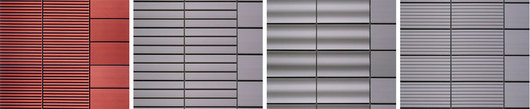 The ALPHATON® ribbed panel, deep grooved façade, waved façade, and grooved façade
