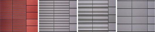 The ALPHATON® ribbed panel, deep grooved façade, waved façade, and grooved façade