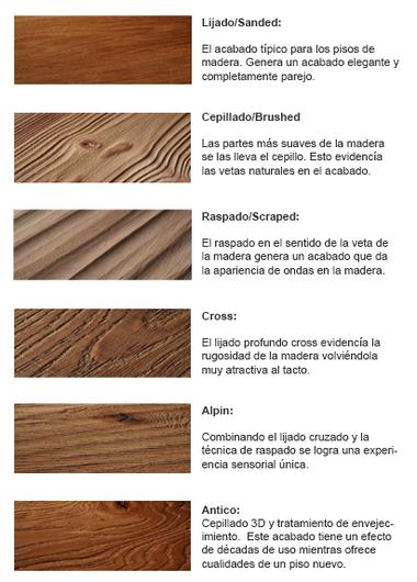 Tipos de acabados en madera for Tipos de pisos de madera