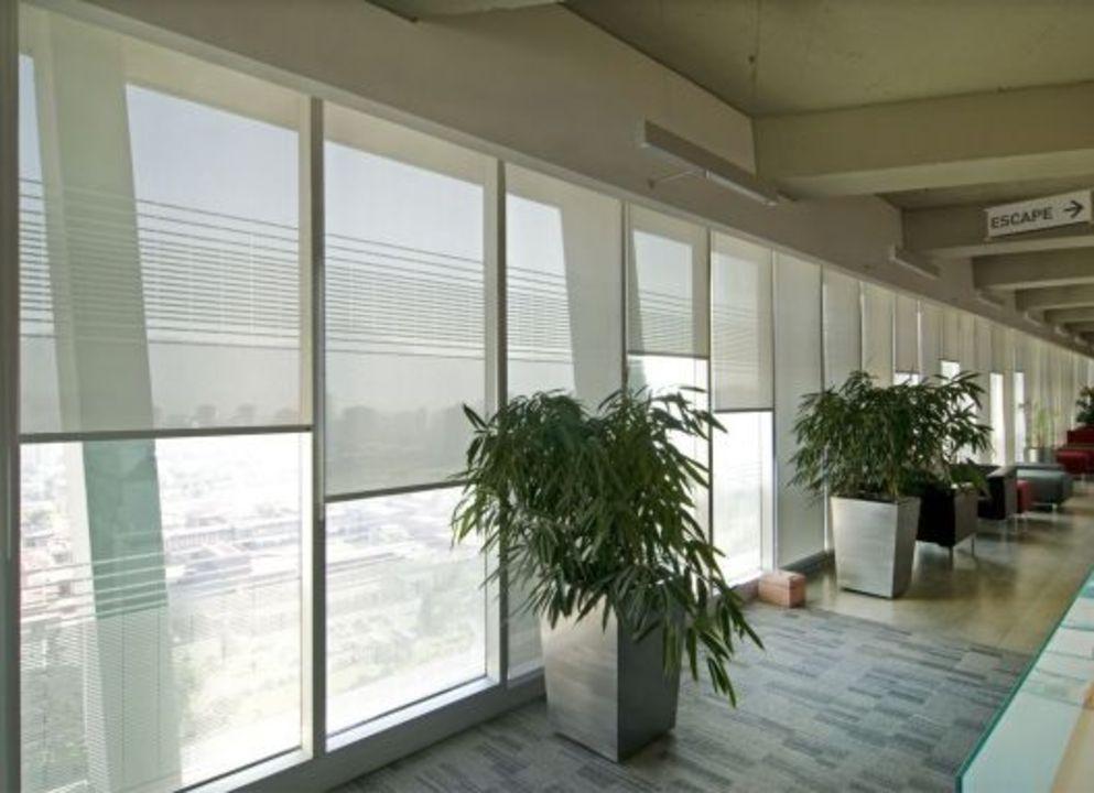 Aplicacion de cortinas roller quantum en edificio paz corp de hunter douglas window covering - Persianas roller ...