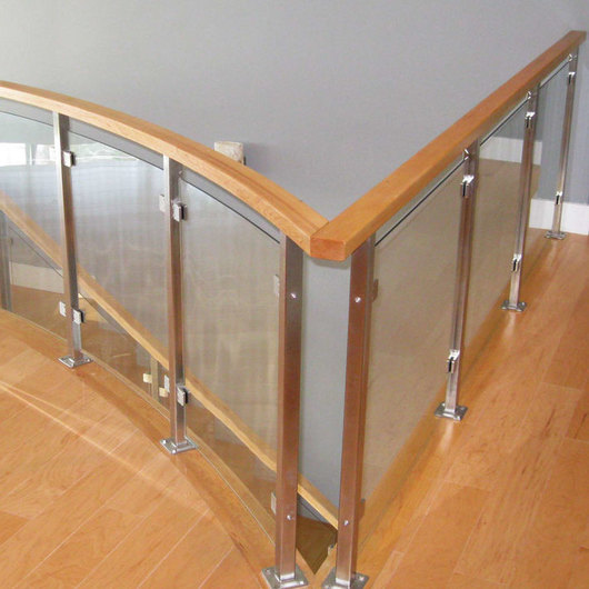 Stainless Steel Glass Railing - Glacier Wood Top