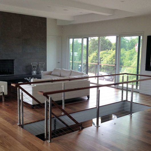 Stainless Steel Cable Railing - Rainier Wood Top