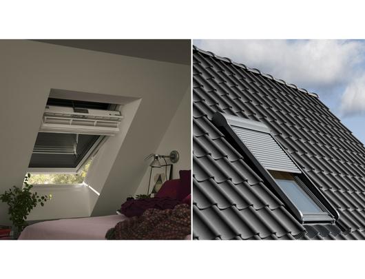 Cortinaje el ctrico para ventanas para techo inclinado de for Persiana velux manual