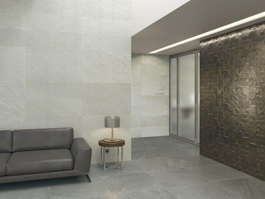 Reims gris + Robine. Floor Tile: Lyon galena