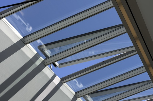 Modular glass skylights in cornell university from velux for Cleaning velux skylights