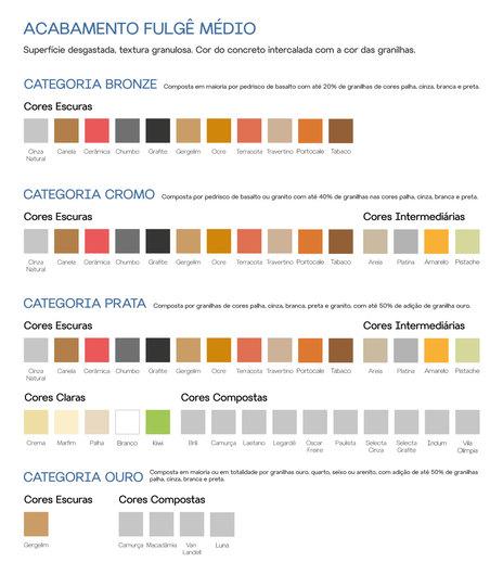Cores e categorias disponíveis