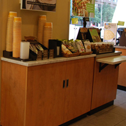 Counters in Au Bon Pain bakery cafe