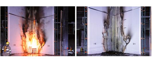 Para la prueba de la imagen, se prengió fuego a 345 kg de madera para determinar la clasificación del producto
