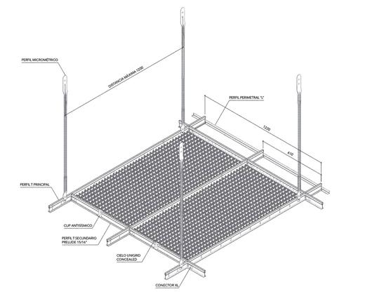 Cielo Metálico Unigrid - Sistema de Instalación