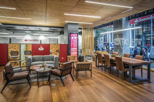 Mobiliario colecci n lounge en work caf banco santander for Banco santander oficinas