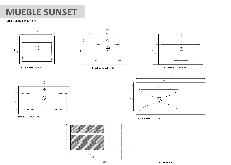 Mueble De Ba O Sunset De Mk # Muebles Ficha Tecnica